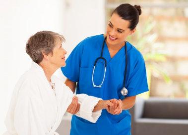 nurse assisting the elderly